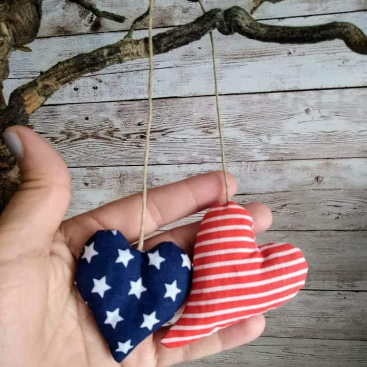 American inspired heart shaped lavender pouches
