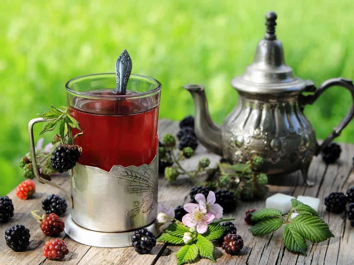 blackberry leaf tea in a pewter tea set