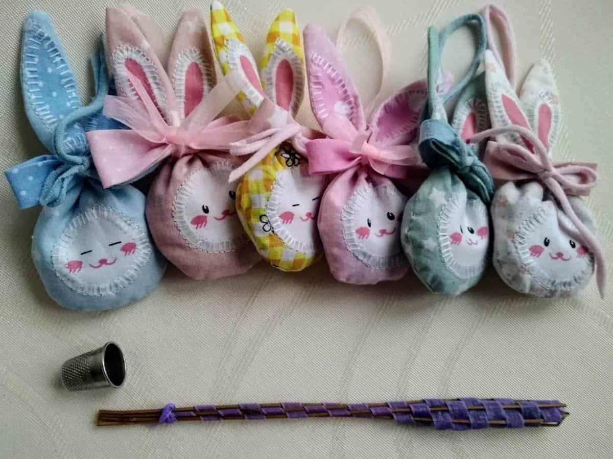 bunny shaped sachets for Easter