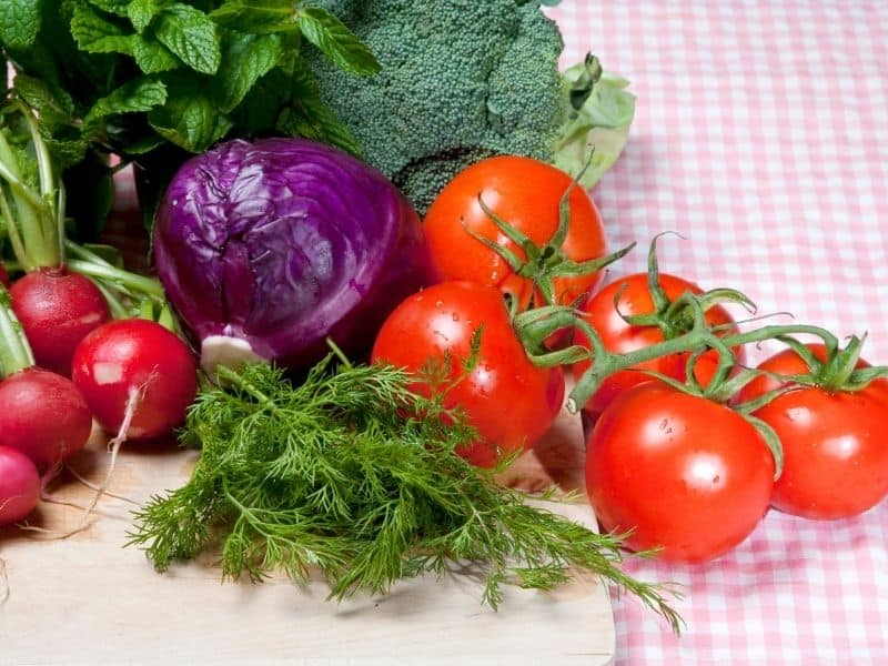 fresh veggies on the table