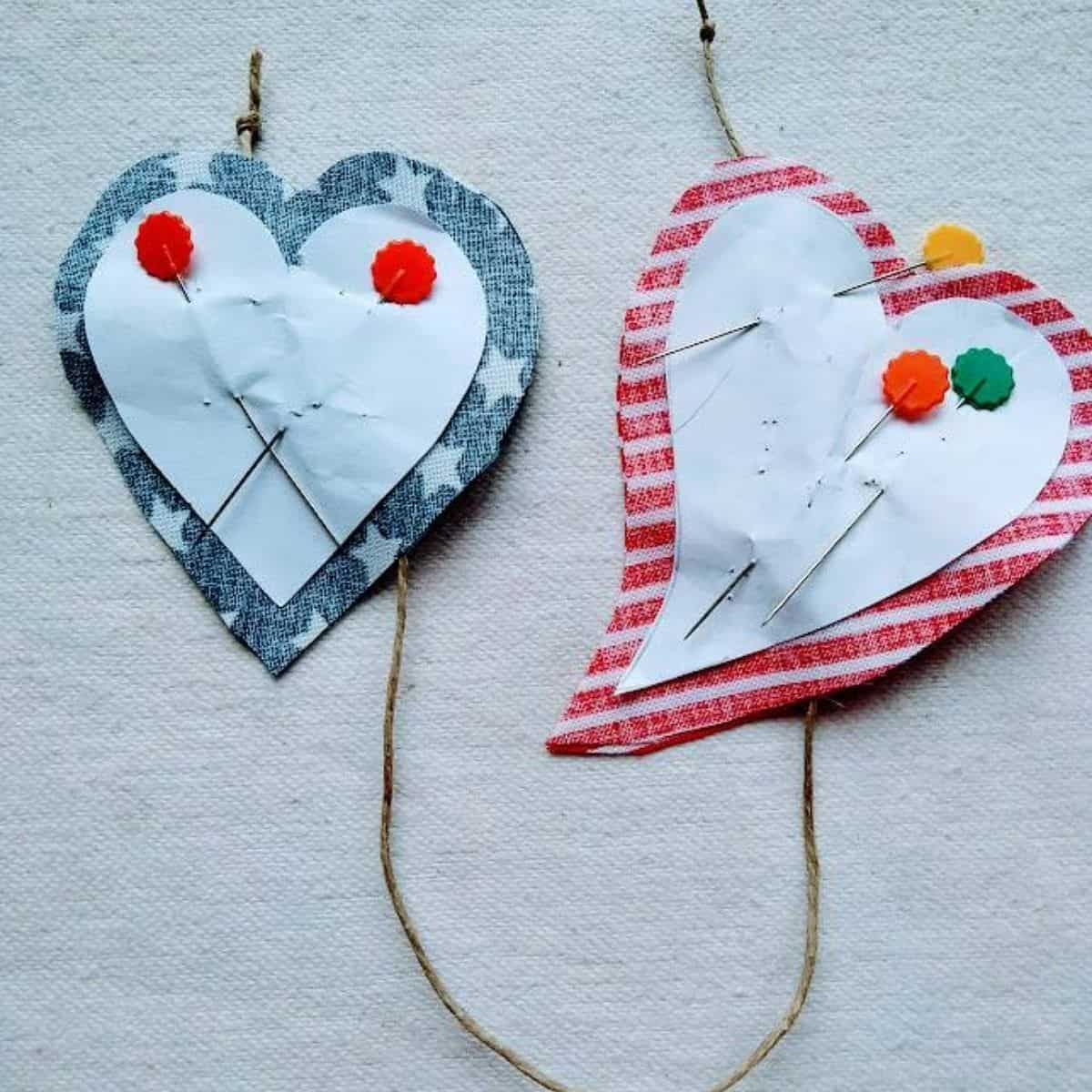 heart-shaped cutouts