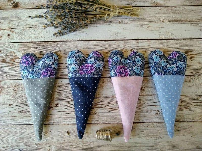 homemade heart shaped lavender sachets