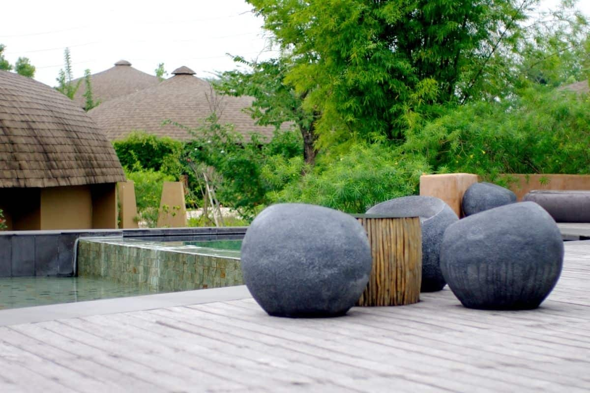 outdoor rock seating