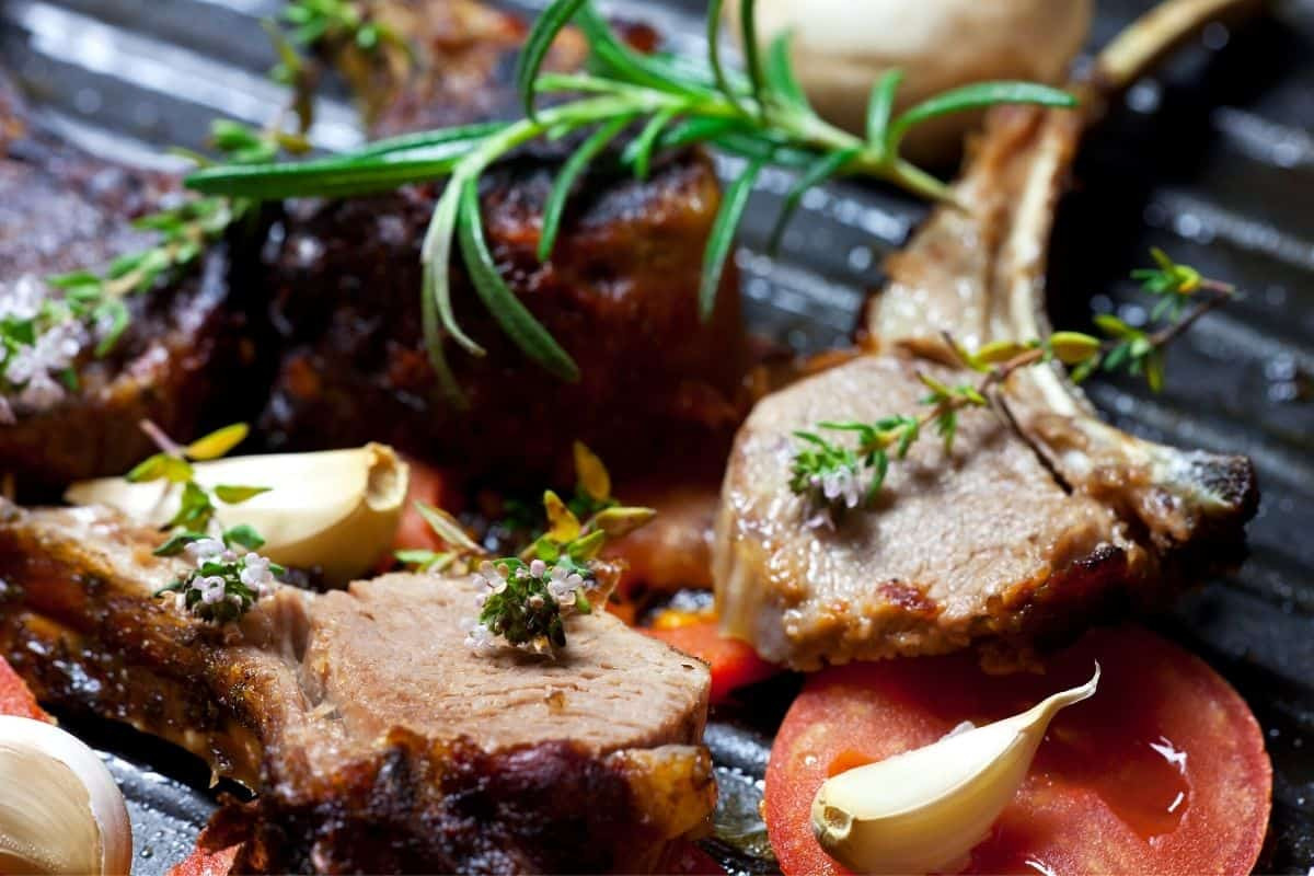 lamb garnished with rosemary flowers