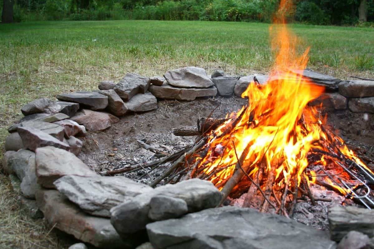 fire pit made from large stones