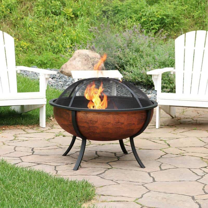 copper finished outdoor fire pit bowl