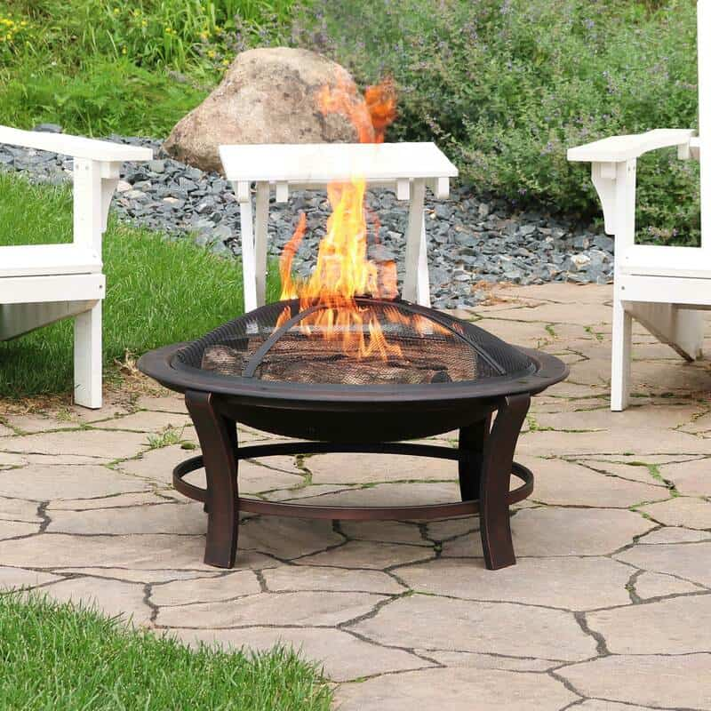 wood burning firebowl with spark screen